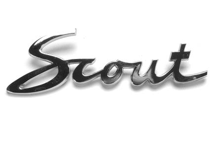 """Scout 80, Scout 800 Cursive, Script """"Scout"""" Emblem"""