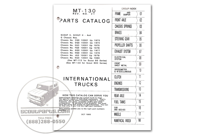 Scout II, Scout II Diesel - Parts Manual MT-130 - 1971-1980