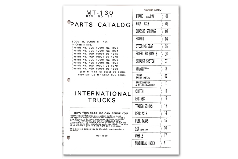 Scout II Parts Manual MT-130 - 1971-1980