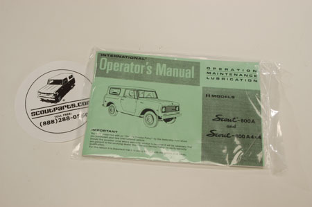 Scout 800 Operators Manual For 1969-1970 A