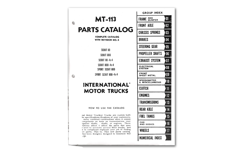 Scout 80 Parts Manual MT-113 - (1961-1968)