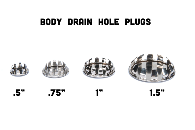 "Scout II, Scout 80, Scout 800 Body Drain Hole Plugs (chrome) .5"", .75"",  1"" And 1.5"""