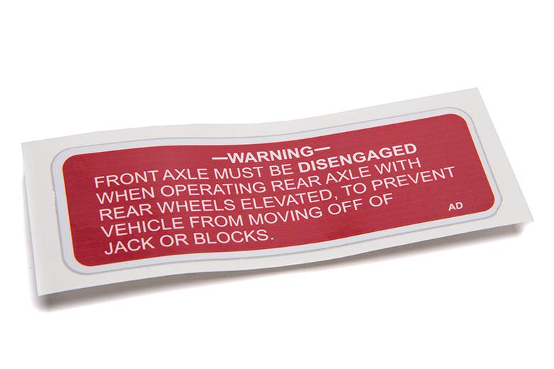 Axle Warning Decal