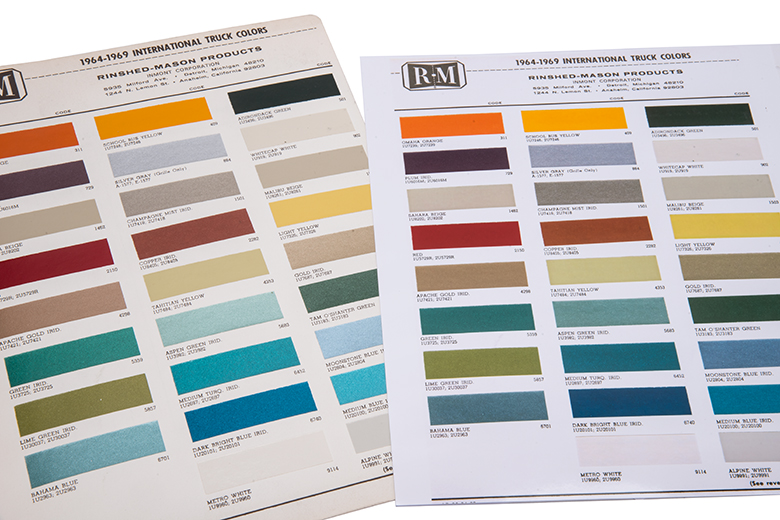 Paint Chip Chart For IHC Trucks '65-'69