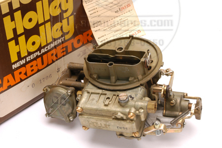 NOS 2 Barrel Carburetor for 266, 304, 345 V8 engines with manual choke.