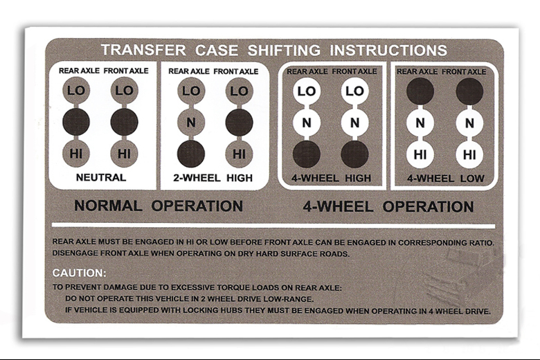 Scout 80, Scout 800 Transfer Case Shift Instructions Decal
