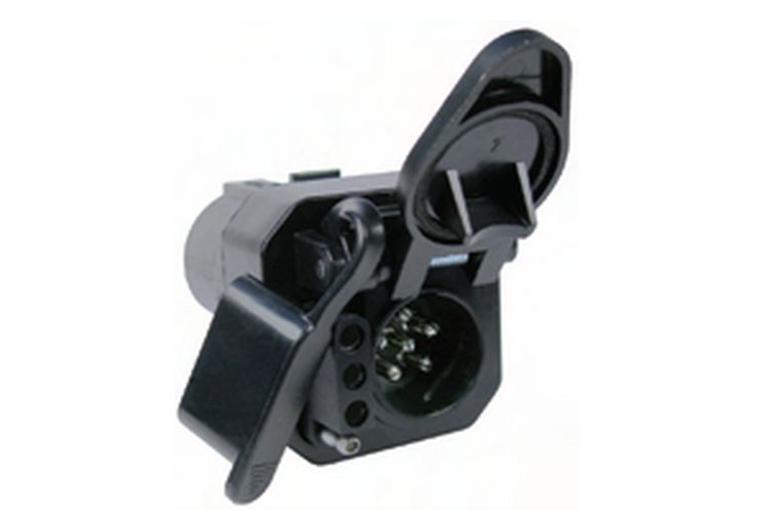 7-Way RV Blade Plug To 6-Way Round Pin Socket & 4-Way Flat Female