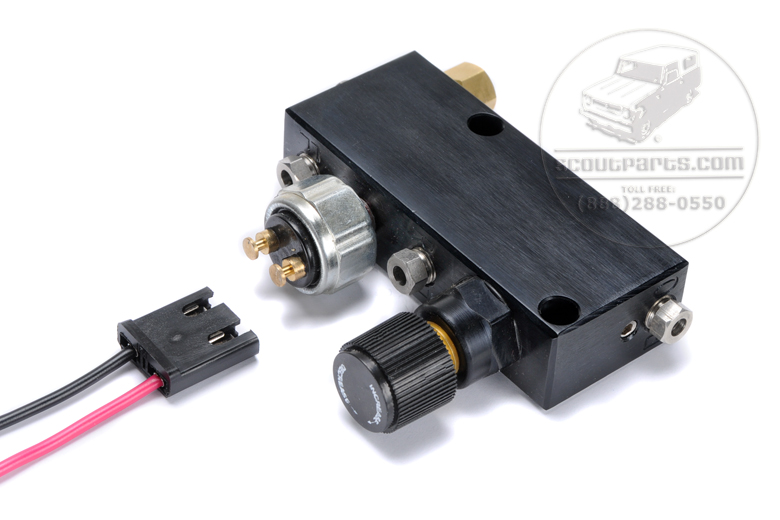 Scout II, Scout 80, Scout 800 Adjustable Brake Proportioning Valve with Brake Light Switch.