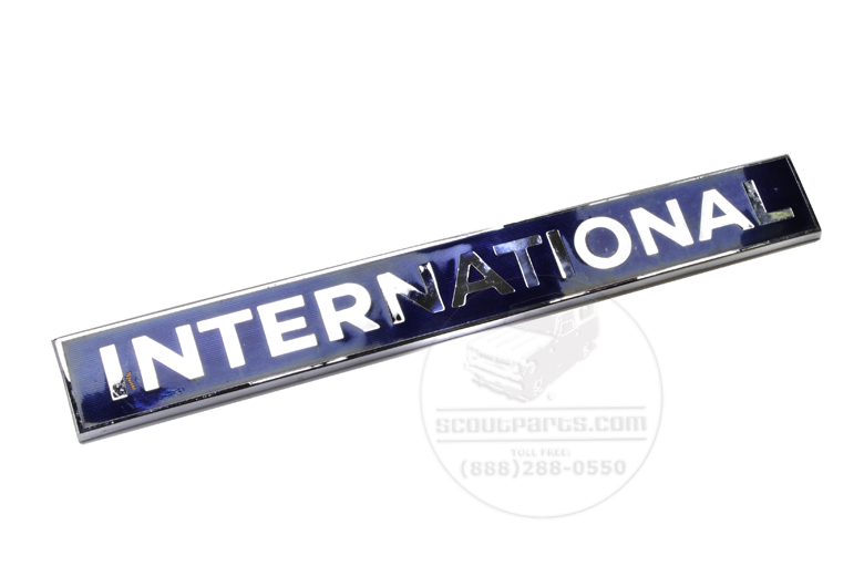 International Emblem - Chrome and Blue Enamel - S-Series trucks - NEW OLD STOCK