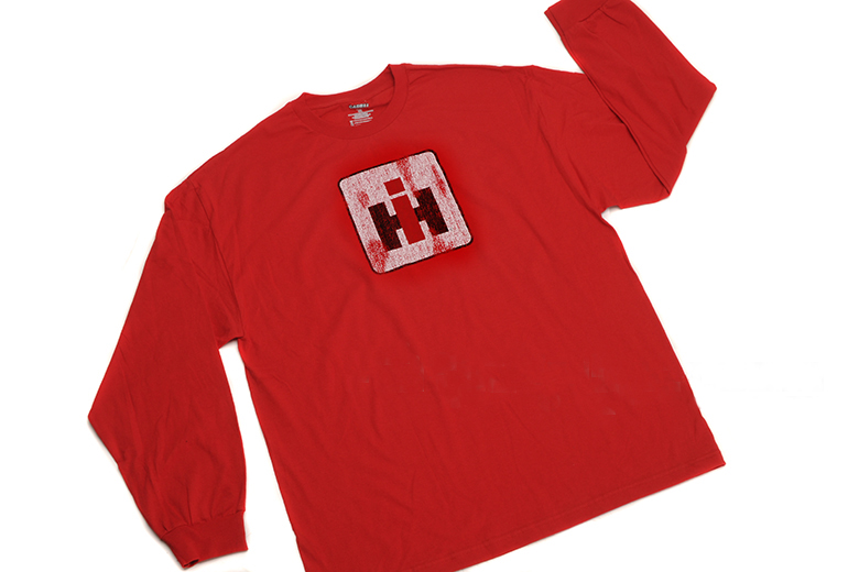 Distressed IH Logo on Red Long Sleeved Shirt