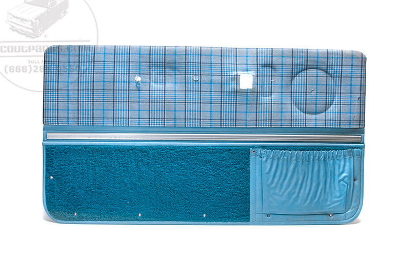 Door Panel Interior Blue Plaid- New Old Stock