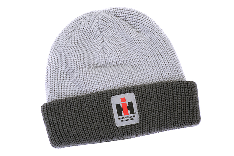 IH International Harvester Ladies Check Knit Gray Beanie