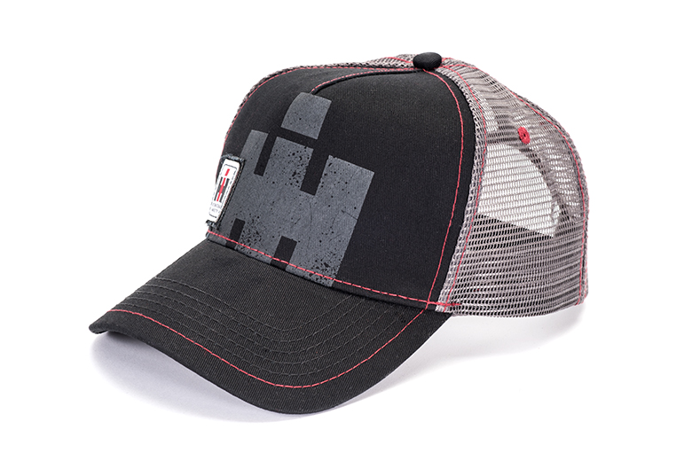 Black Baseball Cap, Black with Grey IH Logo - Hat