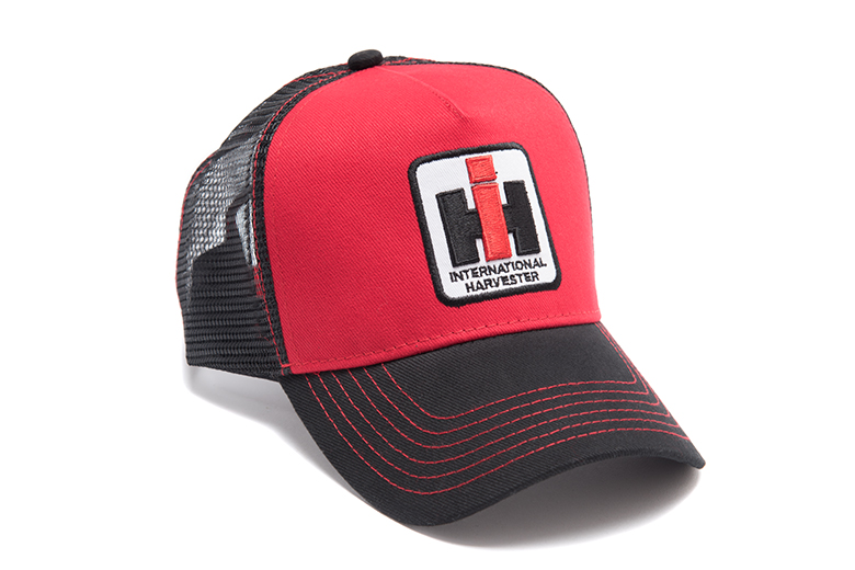 Red And Black Cap With Square IH Logo, Hat