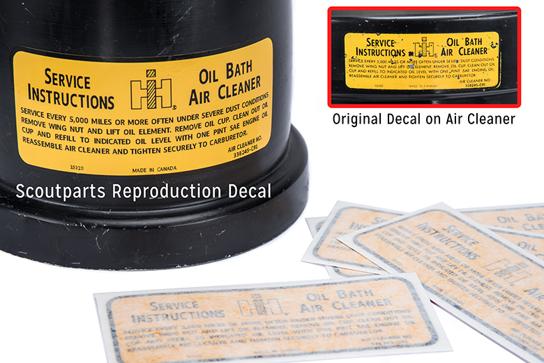 Service Instructions Oil Bath Air Cleaner - Decal, Reproduction