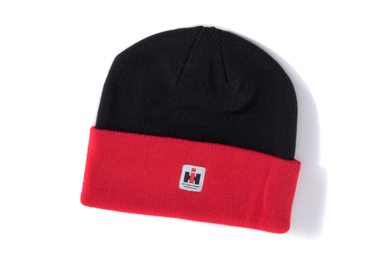 IH Black And Red Knit Watch Cap, Winter Hat