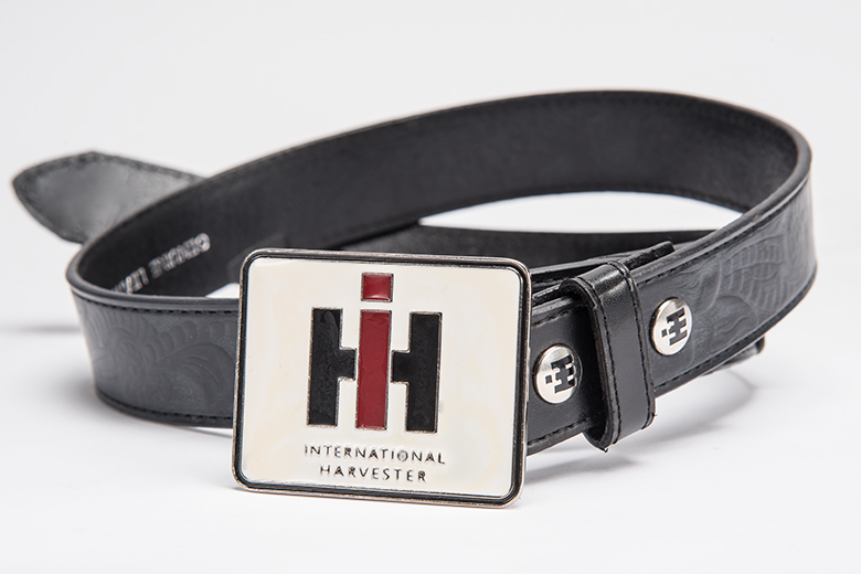 Black Leather Belt with IH Logo On Belt Buckle