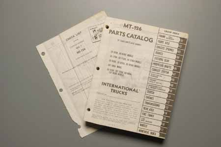 MT-126 parts Catalogemanual, Original copy