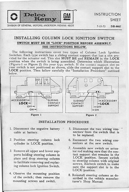 Scout II Ignition Switch - Lower Steering Column