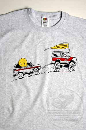 "Scout II t-Shirt ""Scout Leads the way"" (the scout is pulling out a stuck Bronco and the lightbulb is driving)"
