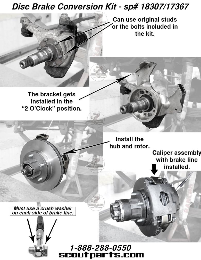 Scout 80, Scout 800 Disc Brake Conversion Kit - Front Axle 4x4 , 800
