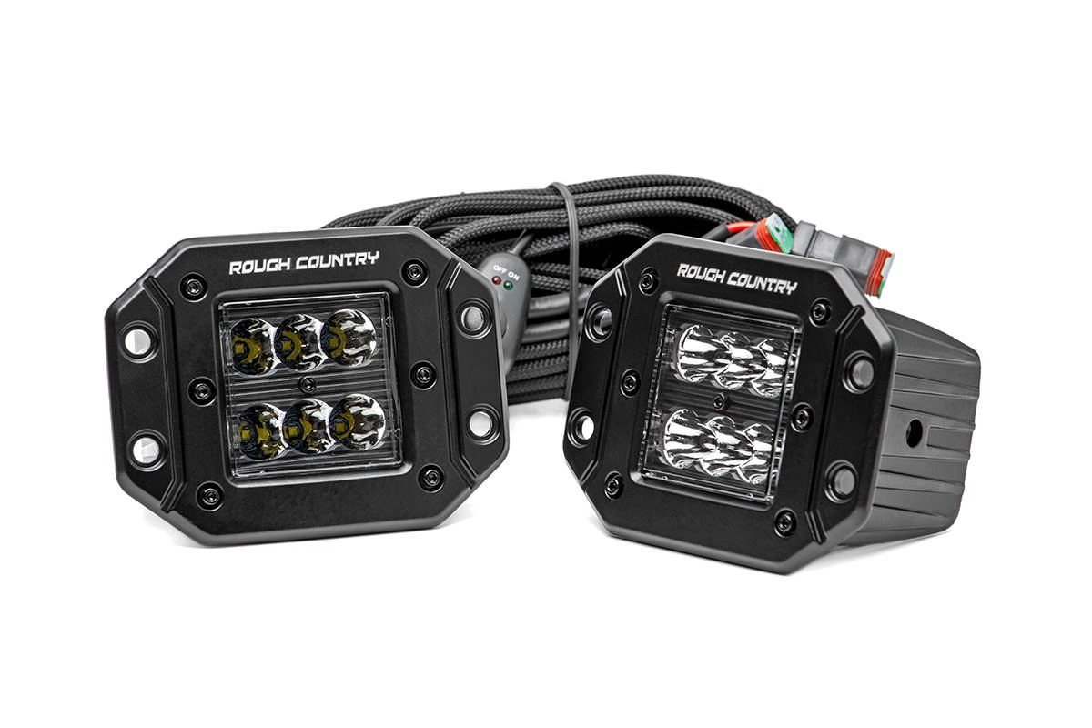 Scout II, Scout 80, Scout 800 2in Square Flush Mount Rough Country CREE Black Series LED Fog Lights