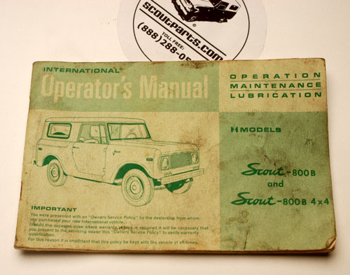 Scout 800 Operators Manual For 1970-1971 B